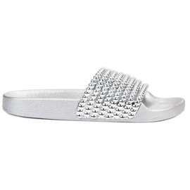 Bestelle grey Rubber Slippers With Beads
