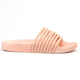 Bestelle pink Rubber Slippers With Beads