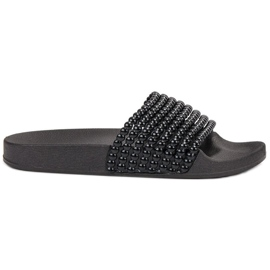 Bestelle black Rubber Slippers With Beads
