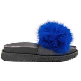 SHELOVET Slippers With Fur blue