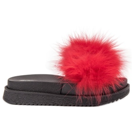 SHELOVET Slippers With Fur red