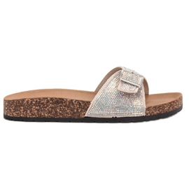 Marquiz brown Glossy Flip Flops With A Buckle