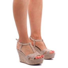 Brown Sandals On the Wedge F6078 Beige