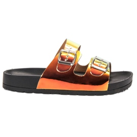 Ideal Shoes yellow Slippers With Holo Buckle