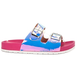 Ideal Shoes grey Slippers With Holo Buckle