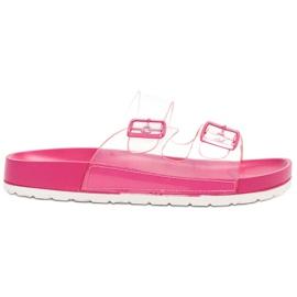 Ideal Shoes pink Transparent Flaps Se Buckle