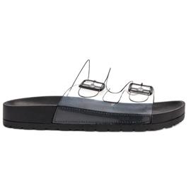 Ideal Shoes black Transparent Flaps Se Buckle