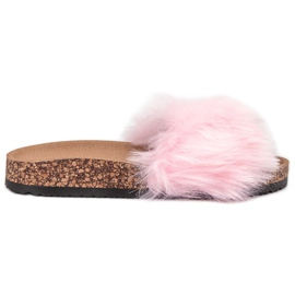 Bona pink Slippers With Fur