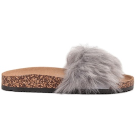 Bona grey Slippers With Fur
