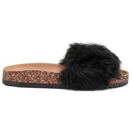 Bona black Slippers With Fur