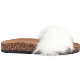 Bona white Slippers With Fur