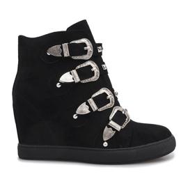 Black suede sneakers with Maya buckles