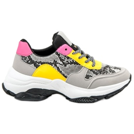 SHELOVET multicolored Colorful Sneakers Snake Print