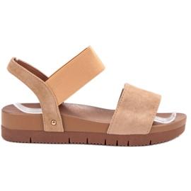Primavera brown Suede Sandals With Elastic Band