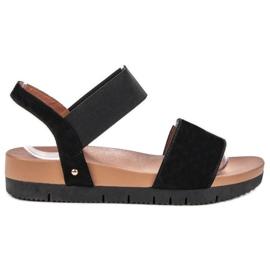 Primavera black Suede Sandals With Elastic Band