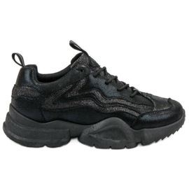 SHELOVET black Glitter Sneakers
