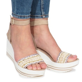 Brown Beige sandals on Laculpa wedge