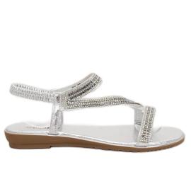 Silver asymmetrical sandals KM-33 Silver grey