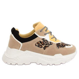 Brown LV88P Leopard beige sports shoes