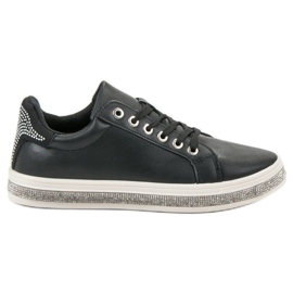SDS black Sport Shoes With Zircons