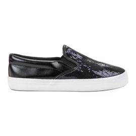 SHELOVET black Slipons With Sequins