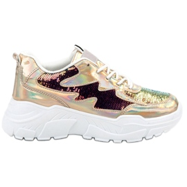 SHELOVET yellow Gold Sneakers With Sequins