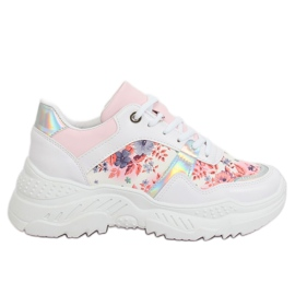 Sport shoes with white flowers 3002 WHITE / FLOWER Red