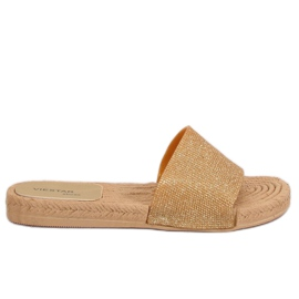 Yellow Women's gold slippers JFF-V182 Golden