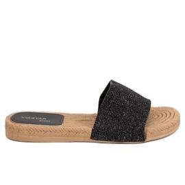 Women's black slippers JFF-V182 Black