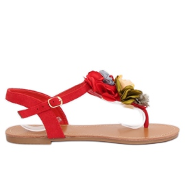 Flip-flops with flowers red L518 Red