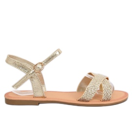 Yellow Women's sandals and gold WL282 Gold
