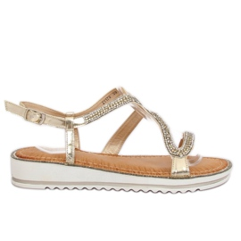 Yellow Sandals asymmetrical gold ZY178 L. Gold