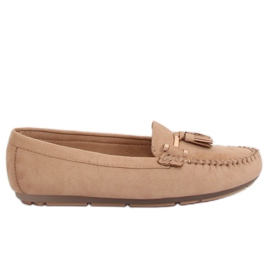 Brown Women's loafers beige L7183 Khaki
