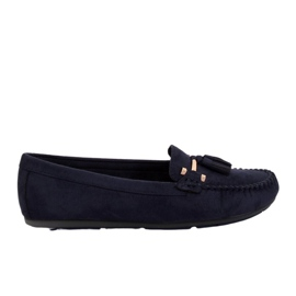 Navy Loafers for women blue L7183 Blue
