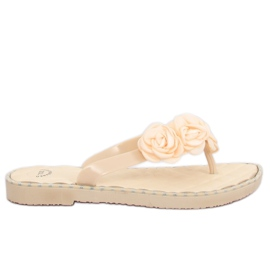 Brown Flip-flops with flowers beige YJL-1818 Beż