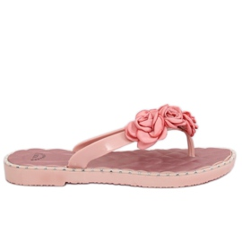 Flip flops with pink flowers YJL-1818 Pink