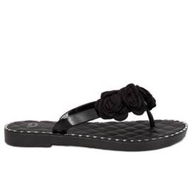 Flip flops with flowers black YJL-1818 Black