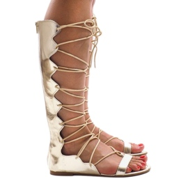 Yellow Golden flat gladiator sandals 289-1
