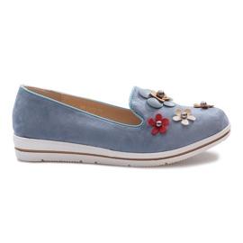 Blue slip-on Multi Flower wedge heels