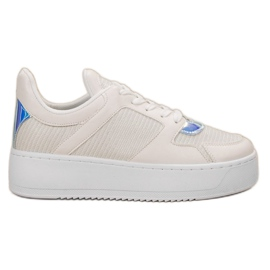 Ideal Shoes white Sneakers With Brocade