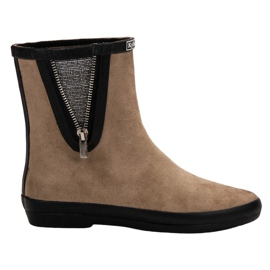Kylie brown Suede Wellington Boots With Decorative Zip
