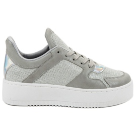 Ideal Shoes grey Sneakers With Brocade