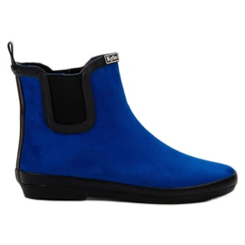 Kylie Suede Leather Wellies blue