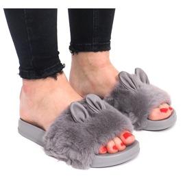 Grey Flip-flops With Fur Uszka HN53-9 Gray
