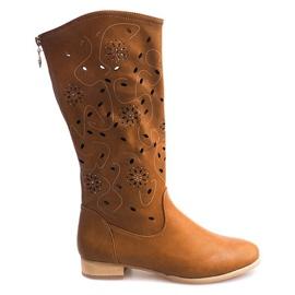 Brown Openwork Boots TLT1301 Camel