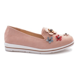 Pink slip-on Multi Flower wedge heels