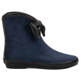 Kylie navy Suede Wellingtons With Bow