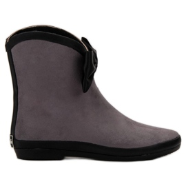Kylie Suede Wellingtons With Bow grey