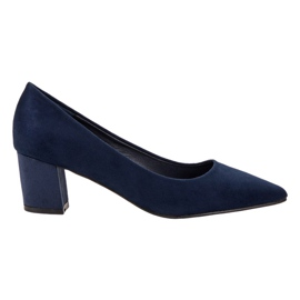 Small Swan Comfortable Suede Pumps blue