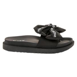 Jumex black Flip Flops With Love Bow